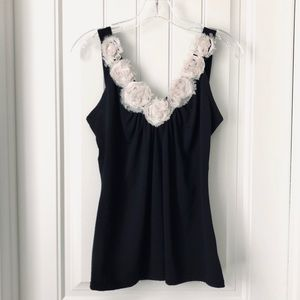 Romy Black Tank Top with Flower Neckline size S